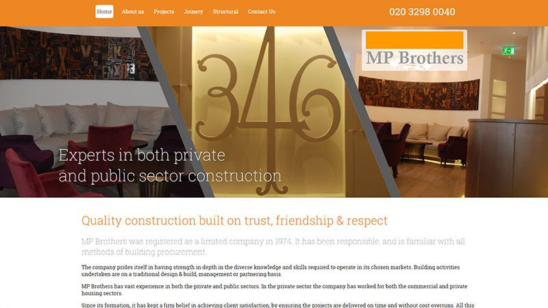 MP Brothers website designed by EQ Creative
