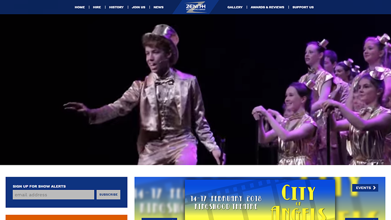 Zenith Youth Theatre Company website designed by EQ Creative